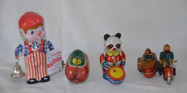 4 Wind Up Tin Toys - Duck, Circus, Motorcycle