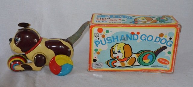 Blic Push and Go Dog Tin Colectors Toy