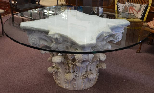 Corinthian Capital Table Base With Glass Top