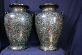 A Pair of Large Cloisonne Baluster Vases