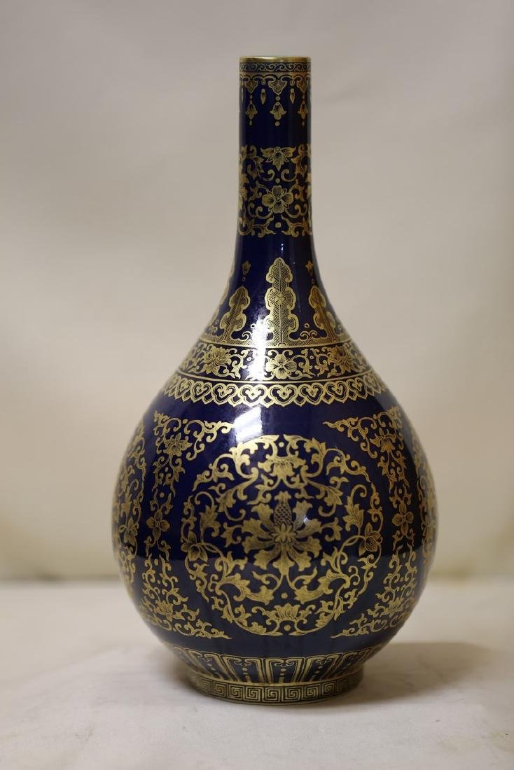 An Exquisite Gilt-Decorated Blue Glaze Porcelain Vase
