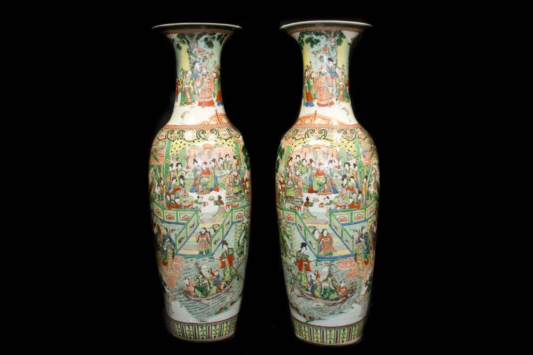 An Exquisite and Massive Pair of Famille Rose Vases