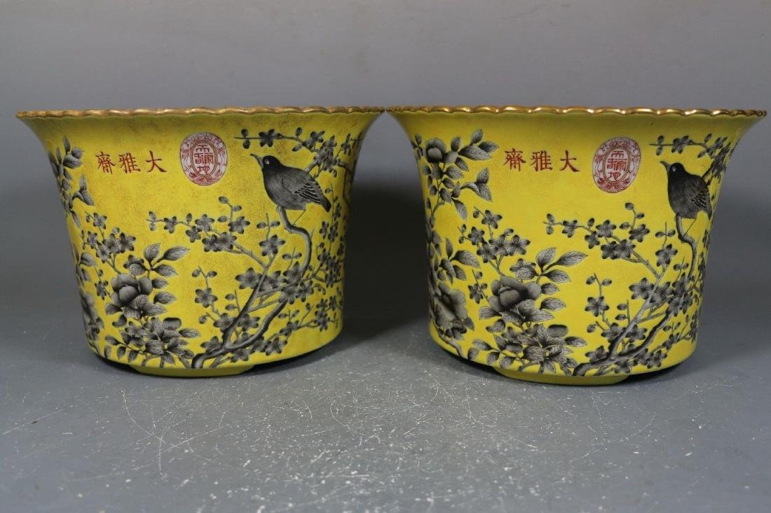 A Pair of Famille Rose Porcelain Pots