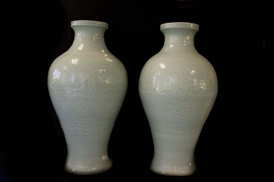A Massive Pair of Celadon Vases