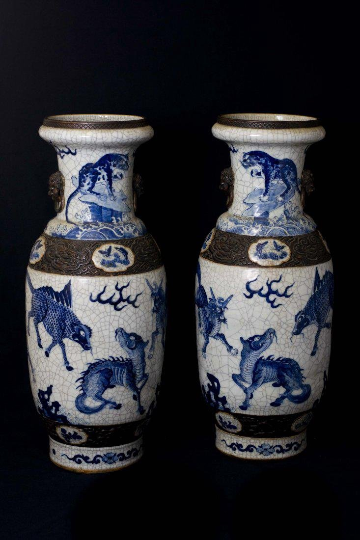An Extremely Rare and Large Pair of Crackle-Glaze Vases