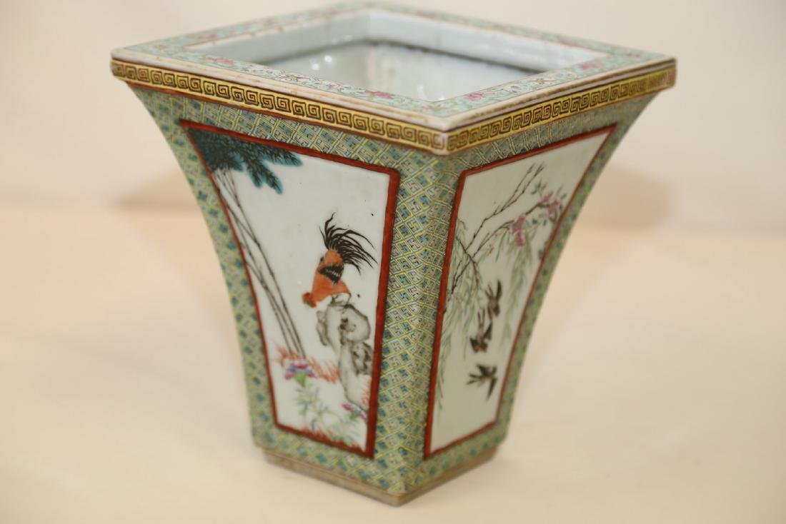 A Famille Rose Porcelain Cachepot with Birds and