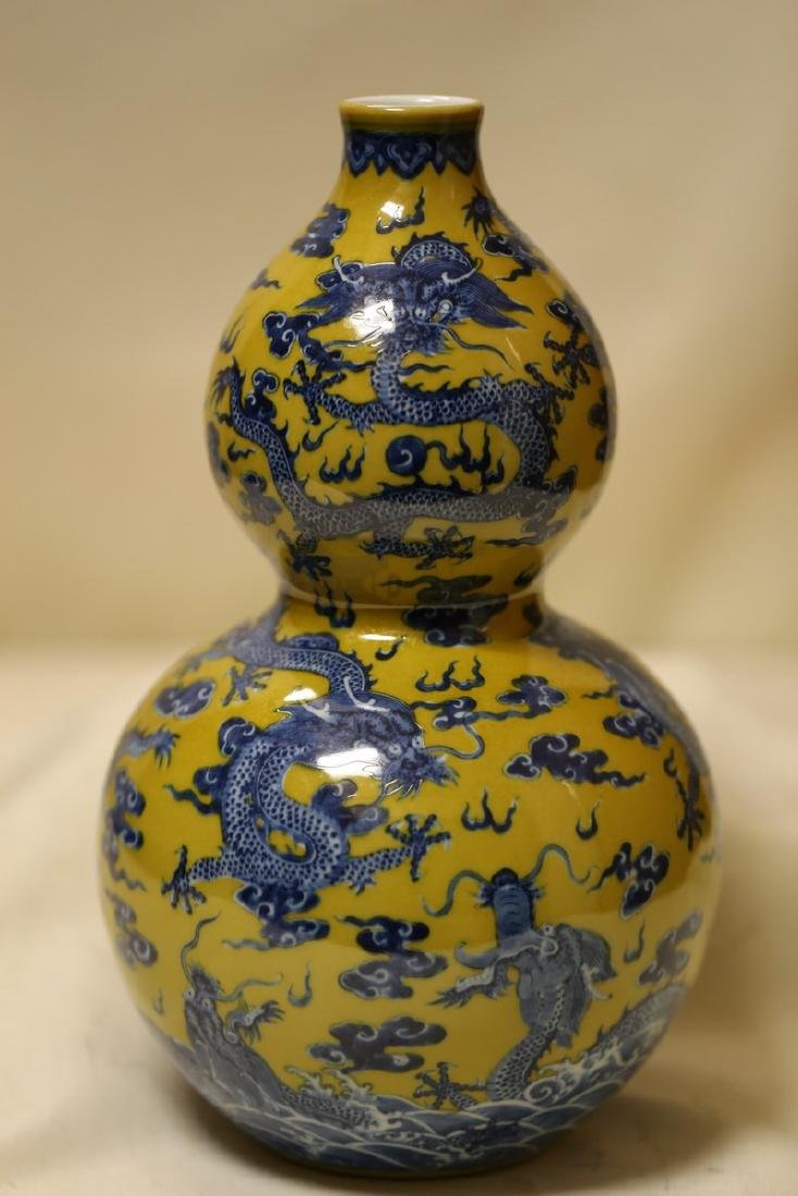 A Blue and Yellow Dragon Vase