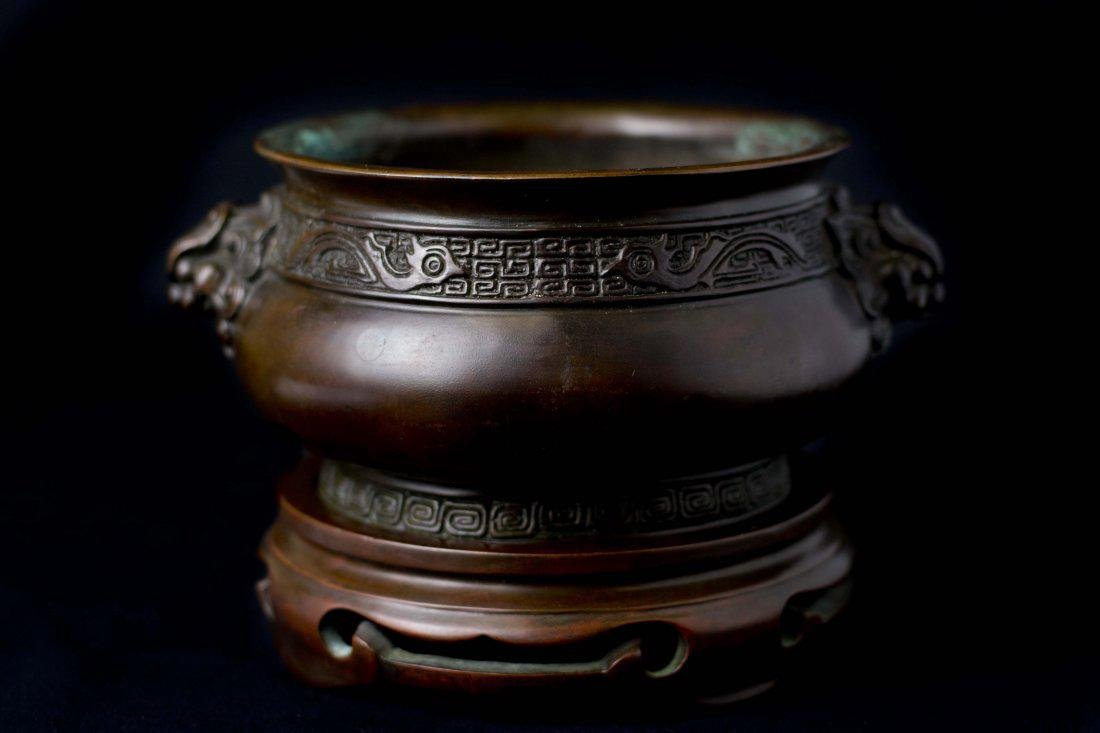 An Exceptional Bronze with Lion Mask Handles Censer