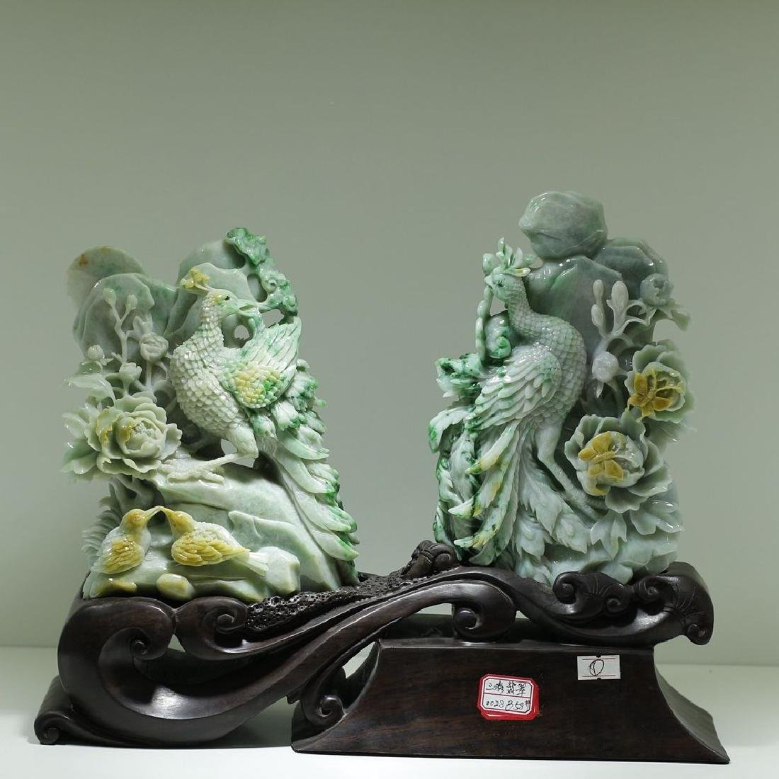 A Carved Jade Decorated Statue