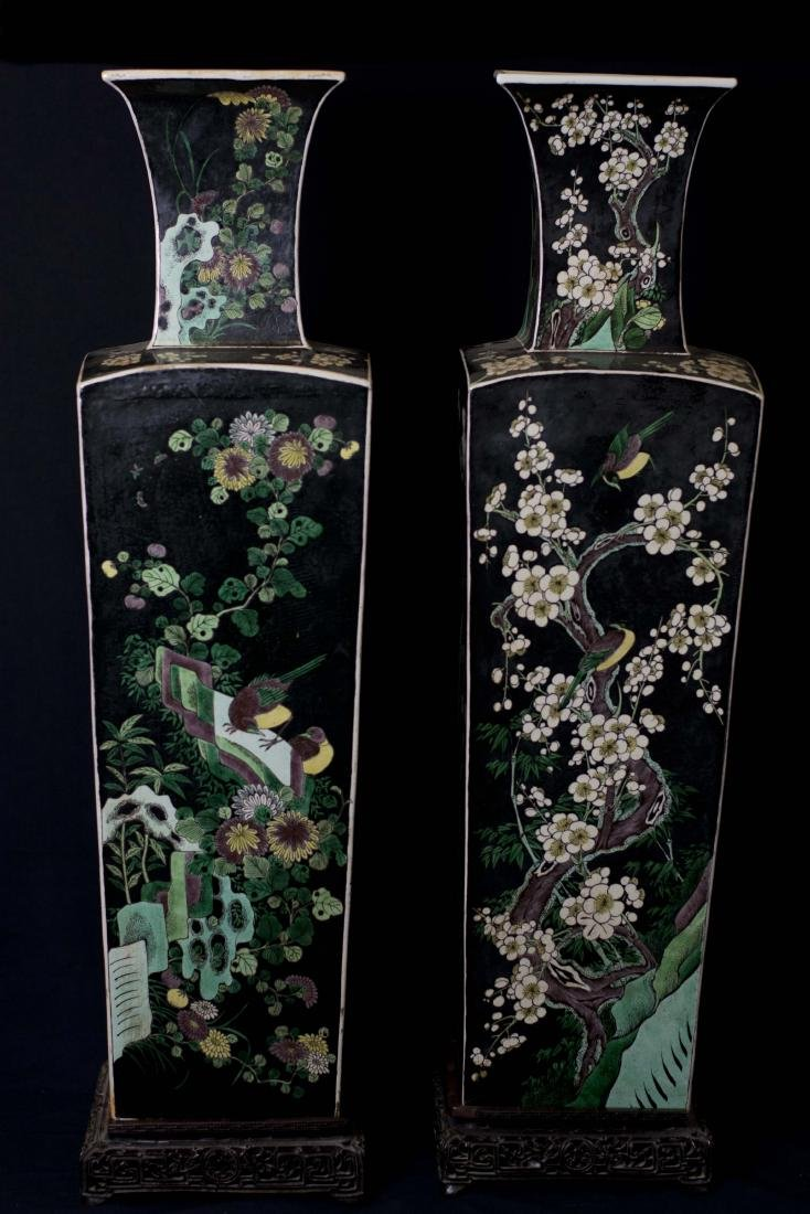 An Exquisite Massive Pair of Famille Noire Enameled
