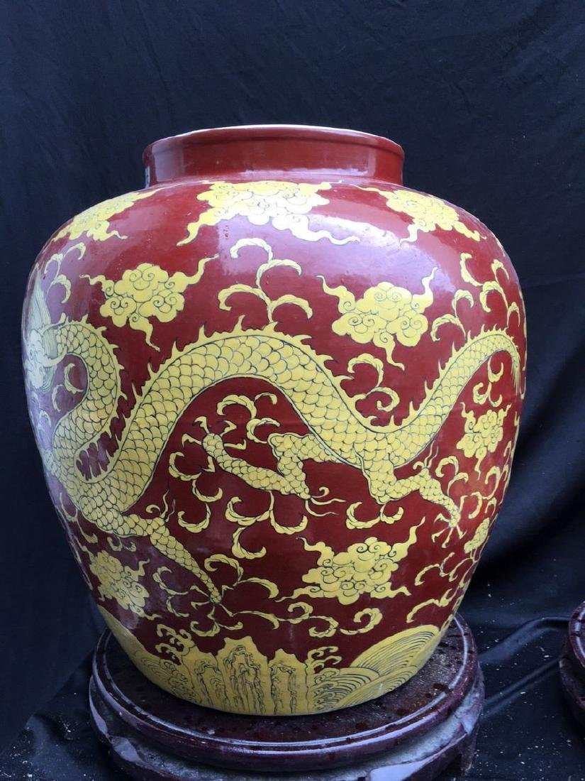 A Magnificent Pair of Wucai Jar with Lids
