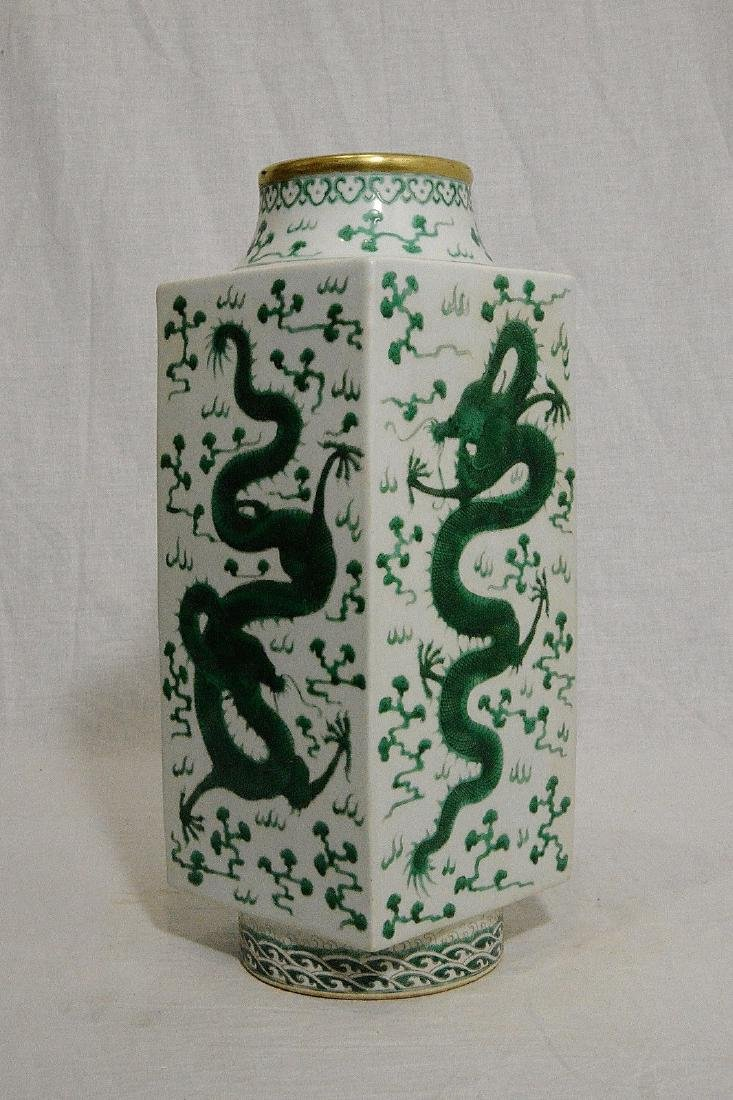 A Green and White Square Vase
