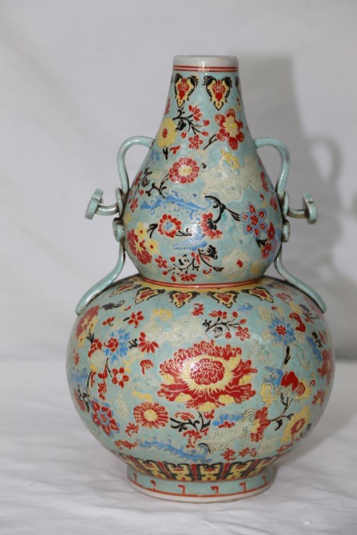 A Famille Rose Double Gourd Porcelain Vase