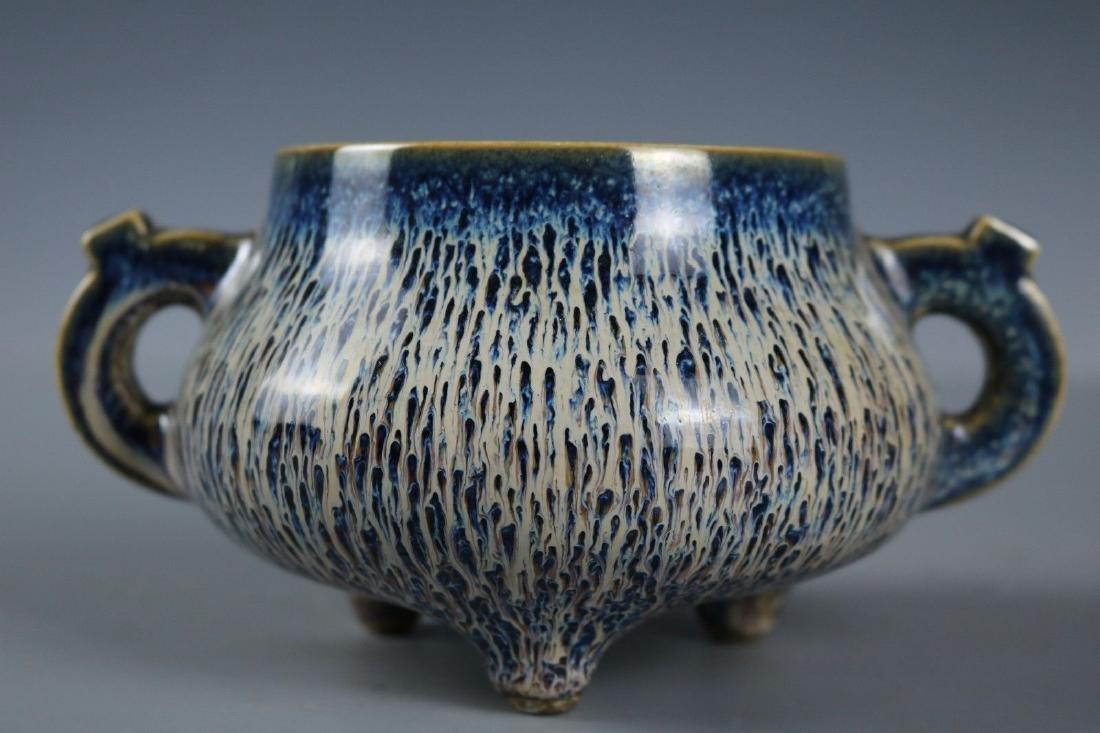 A Rare Snowflake Blue Porcelain Incense