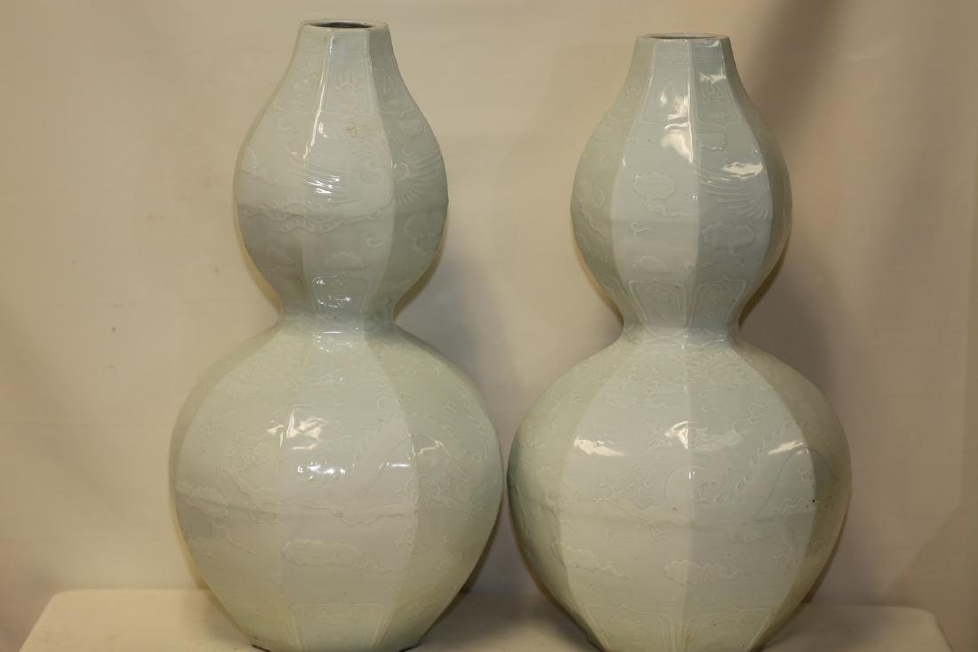 A Large Pair of Guan-Type Double Gourd Vases