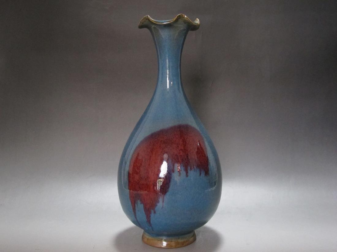 A Jun Glazed Red-Splash Porcelain Vase