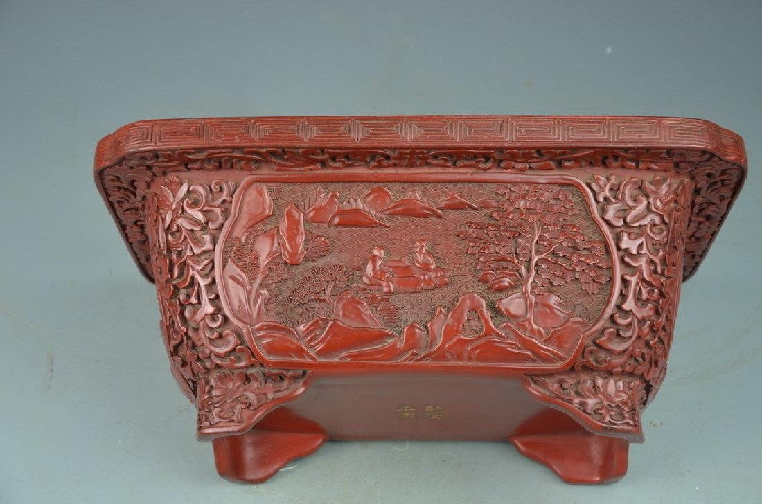 A Carved Cinnabar Lacquer Flower Pot