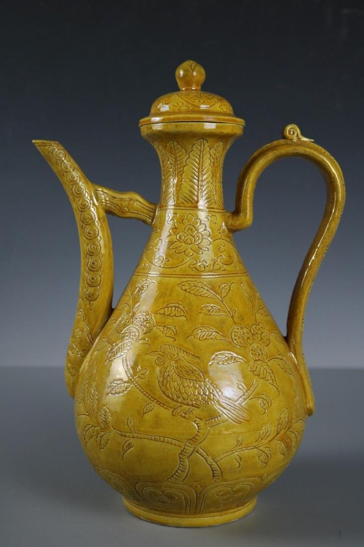 A Yellow Glaze Porcelain Tea Pot