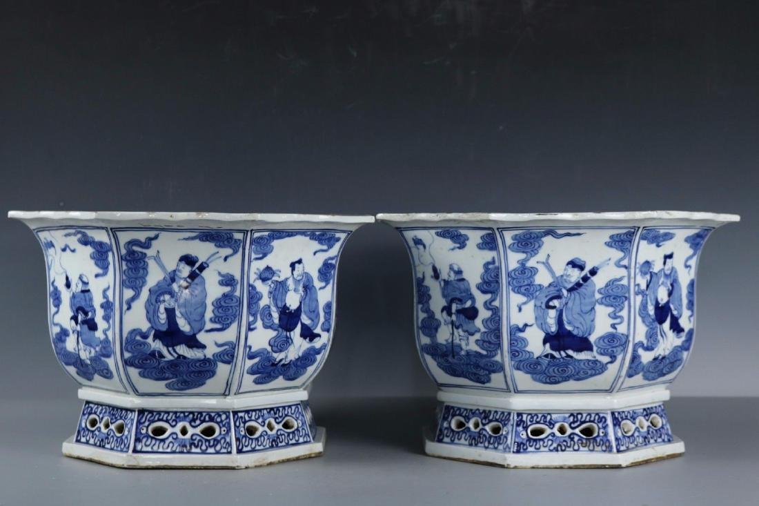 A Pair of Blue and White Porcelain Pots
