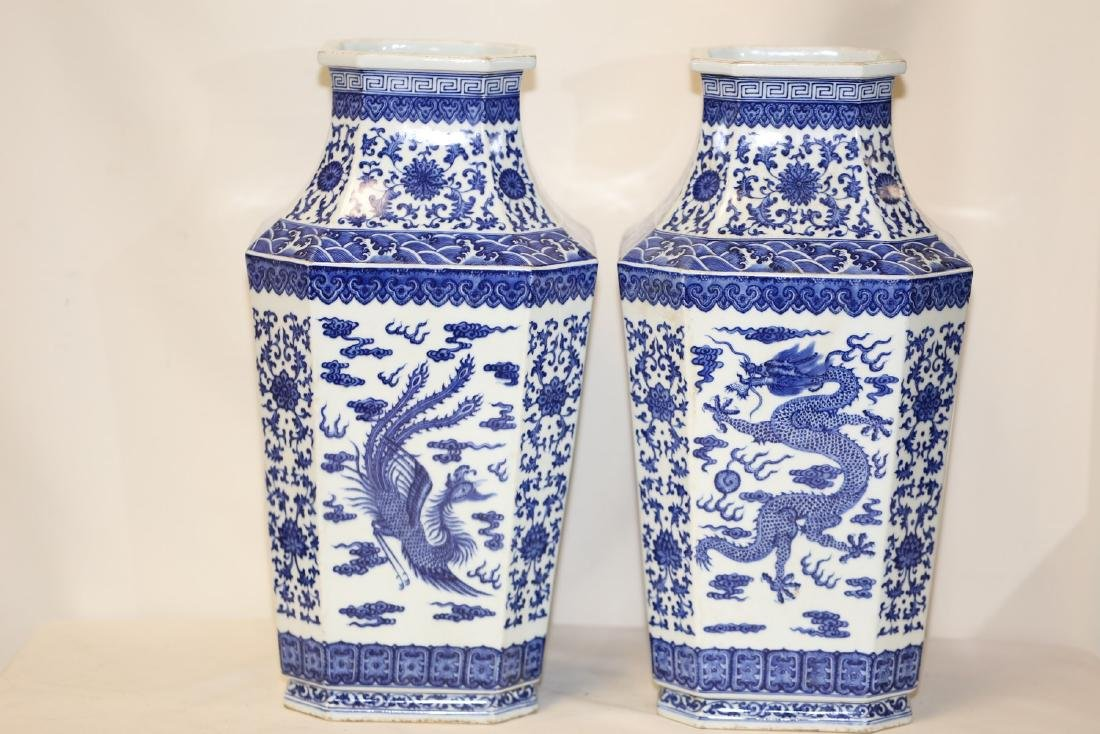 A Magnificent Pair of Blue and White Porcelain Vases