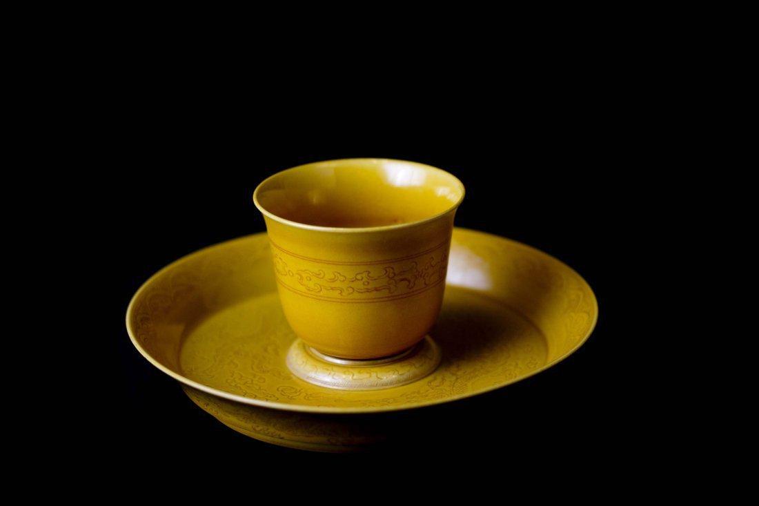 A Yellow Glaze Porcelain Tea Cup