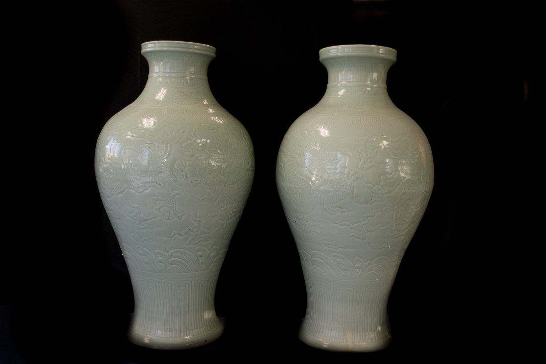 A Massive Pair of Celadon Vases