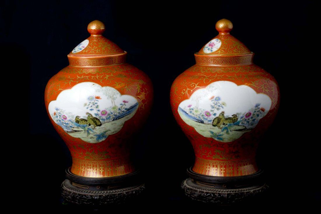 An Impressive Pair of Coral Red Gilt-Decorated and