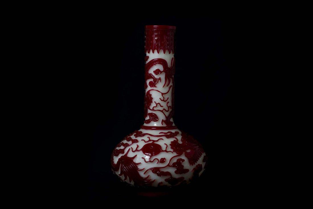 A Magnificent Red Overlay White Glass Dragon Vase