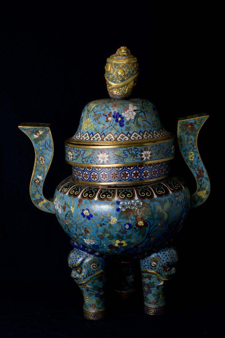 A Magnificent and Large Gilt-Bronze and Cloisonne