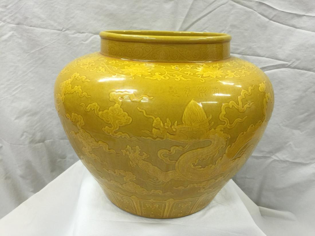 A Yellow Ground Dragon Jar