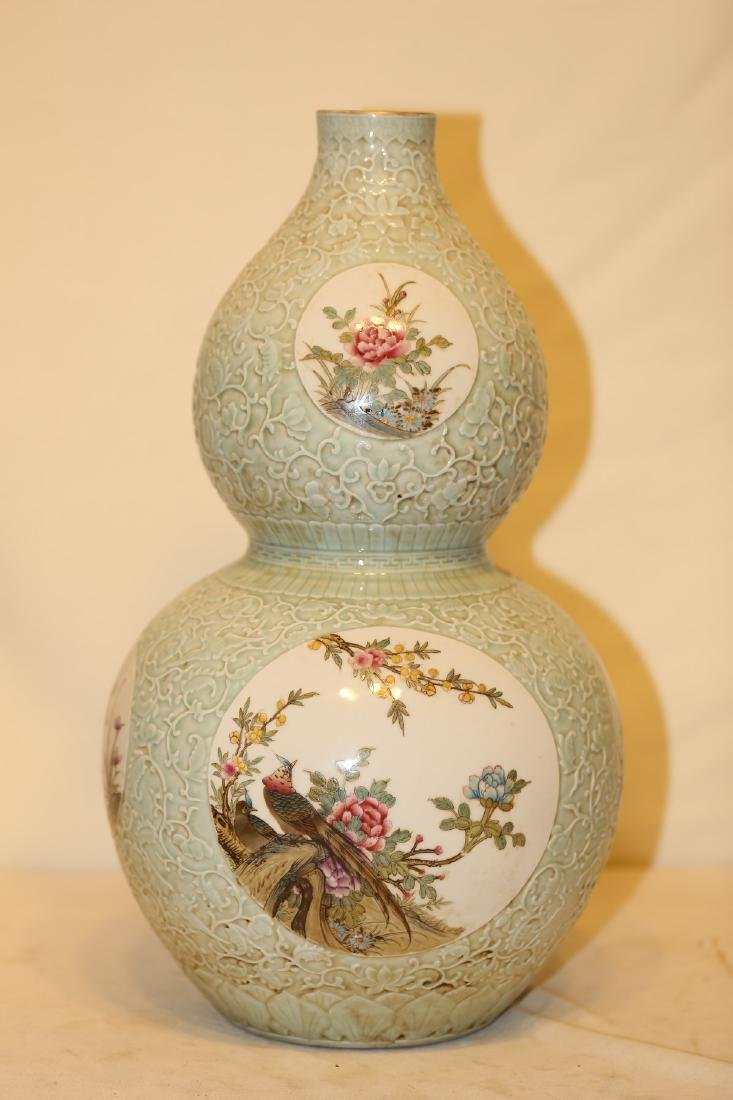 A Famille Rose Double Gourd Vase