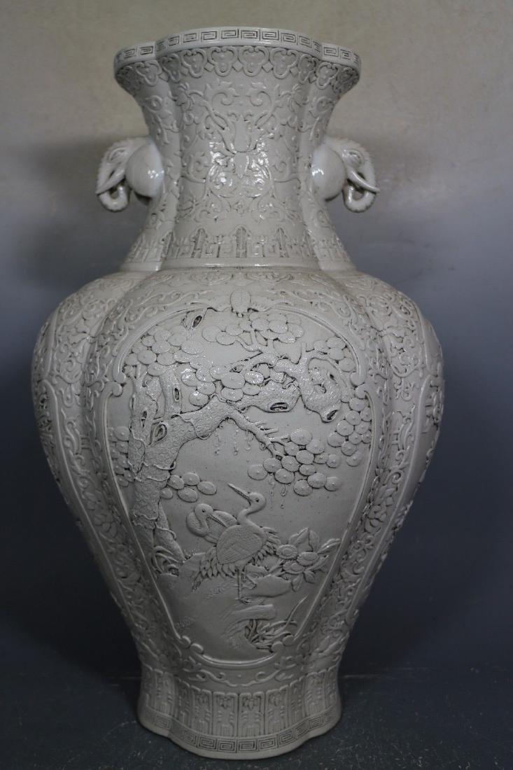 A White Glaze Porcelain Carved Vase