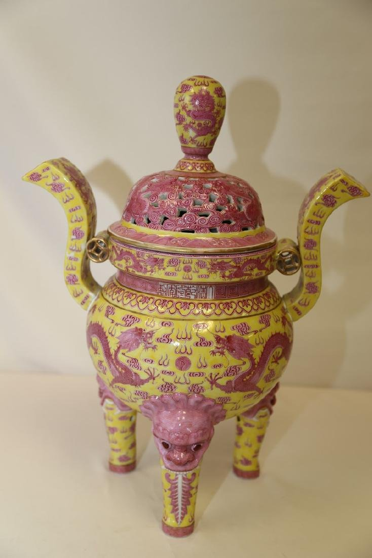 A Yellow and Pink Gourd Porcelain Dragon Censer