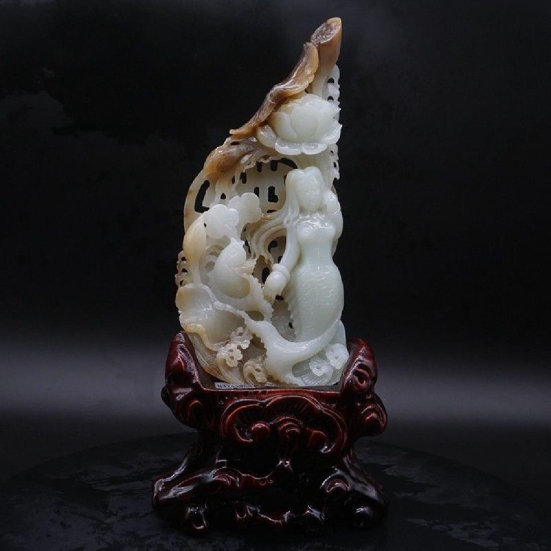 A Lotus Fish Mermaid Carving Jade Statue