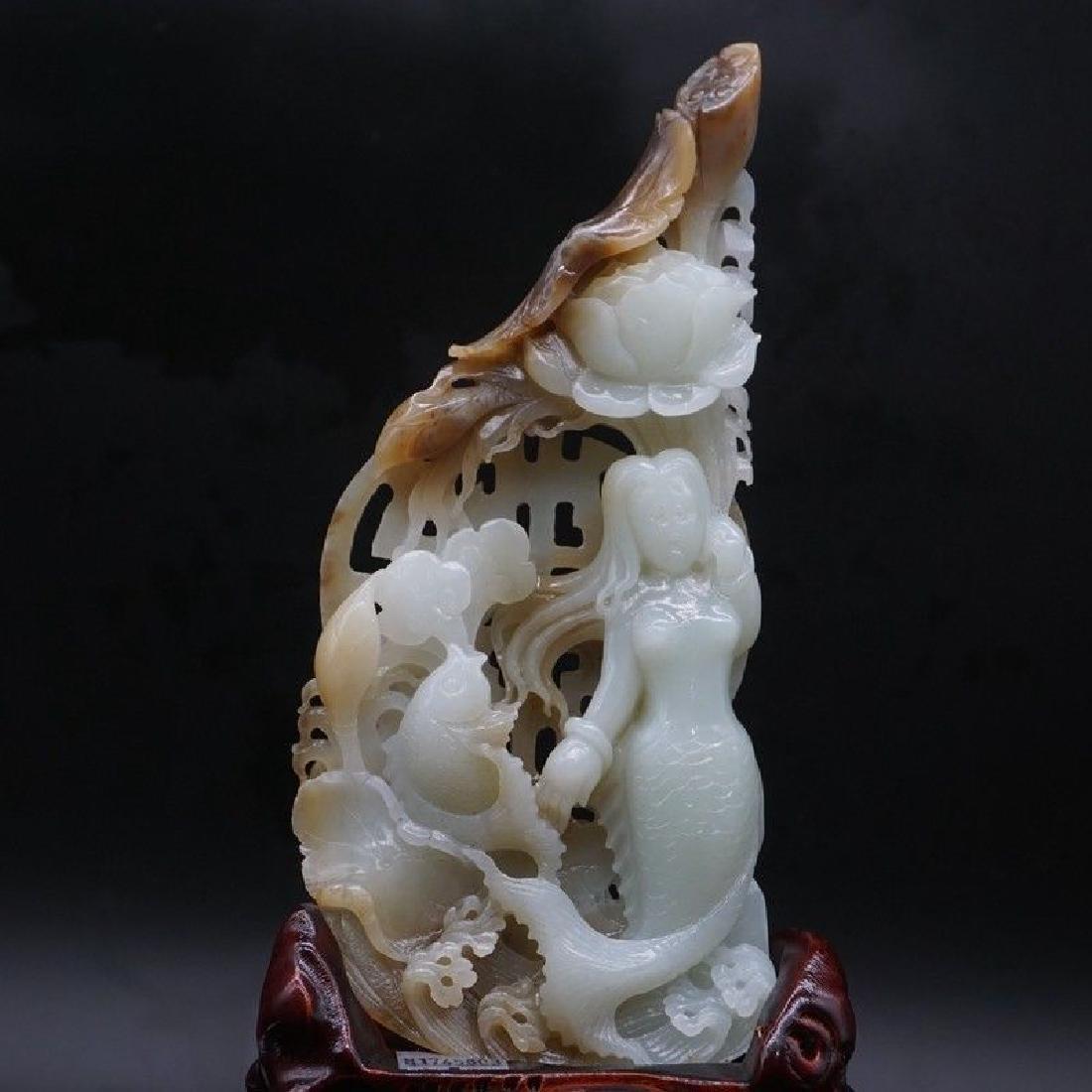 A Lotus Fish Mermaid Carving Jade Statue - 2