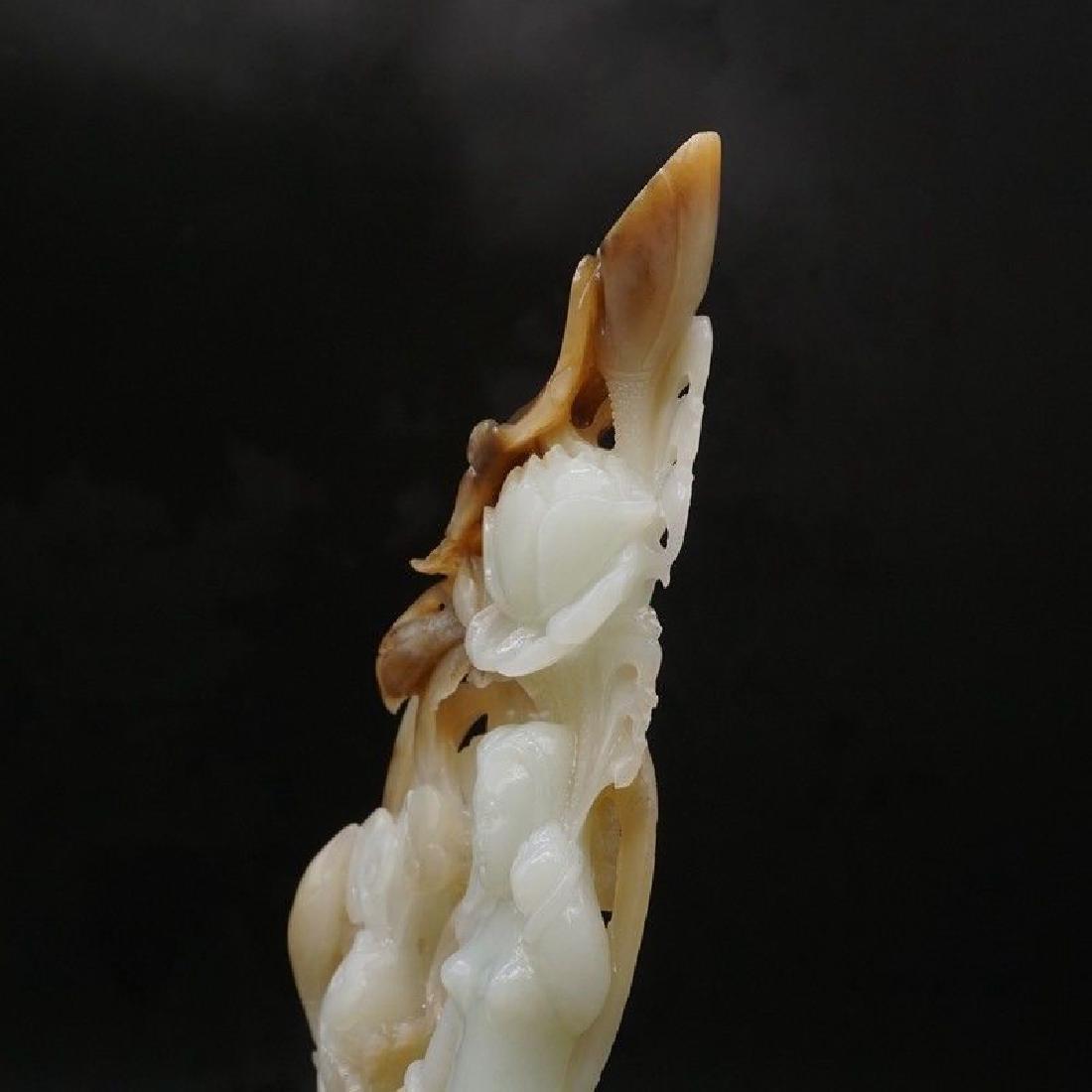 A Lotus Fish Mermaid Carving Jade Statue - 7