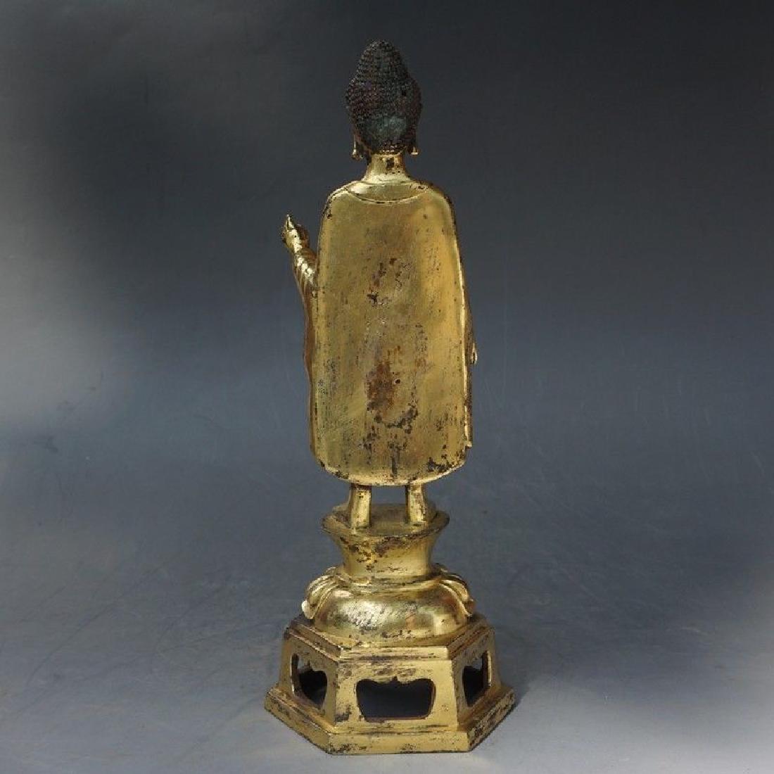 A Gilt Bronze Figure of Buddha - 9