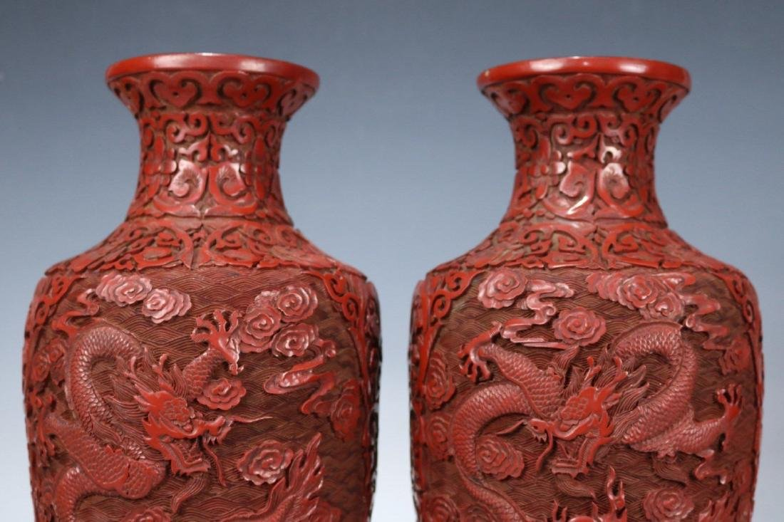 A Pair of Carved Lacquer Vases - 2