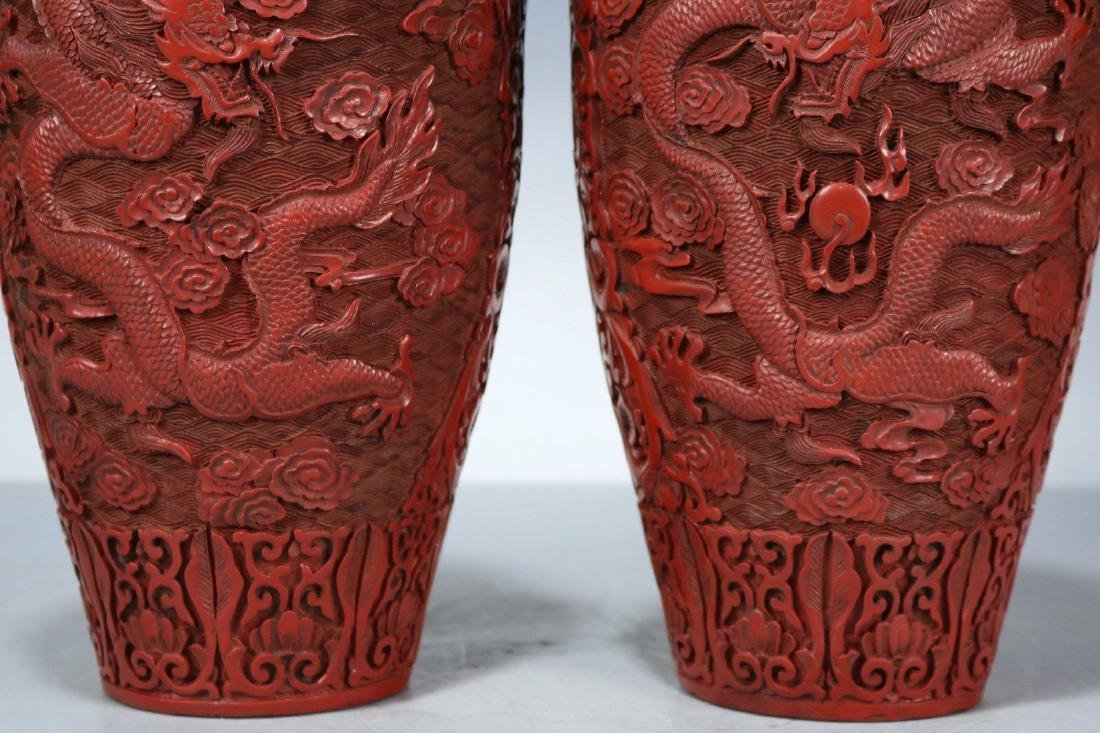 A Pair of Carved Lacquer Vases - 4