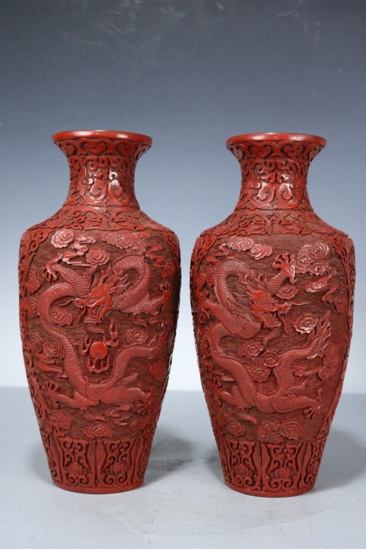 A Pair of Carved Lacquer Vases - 7