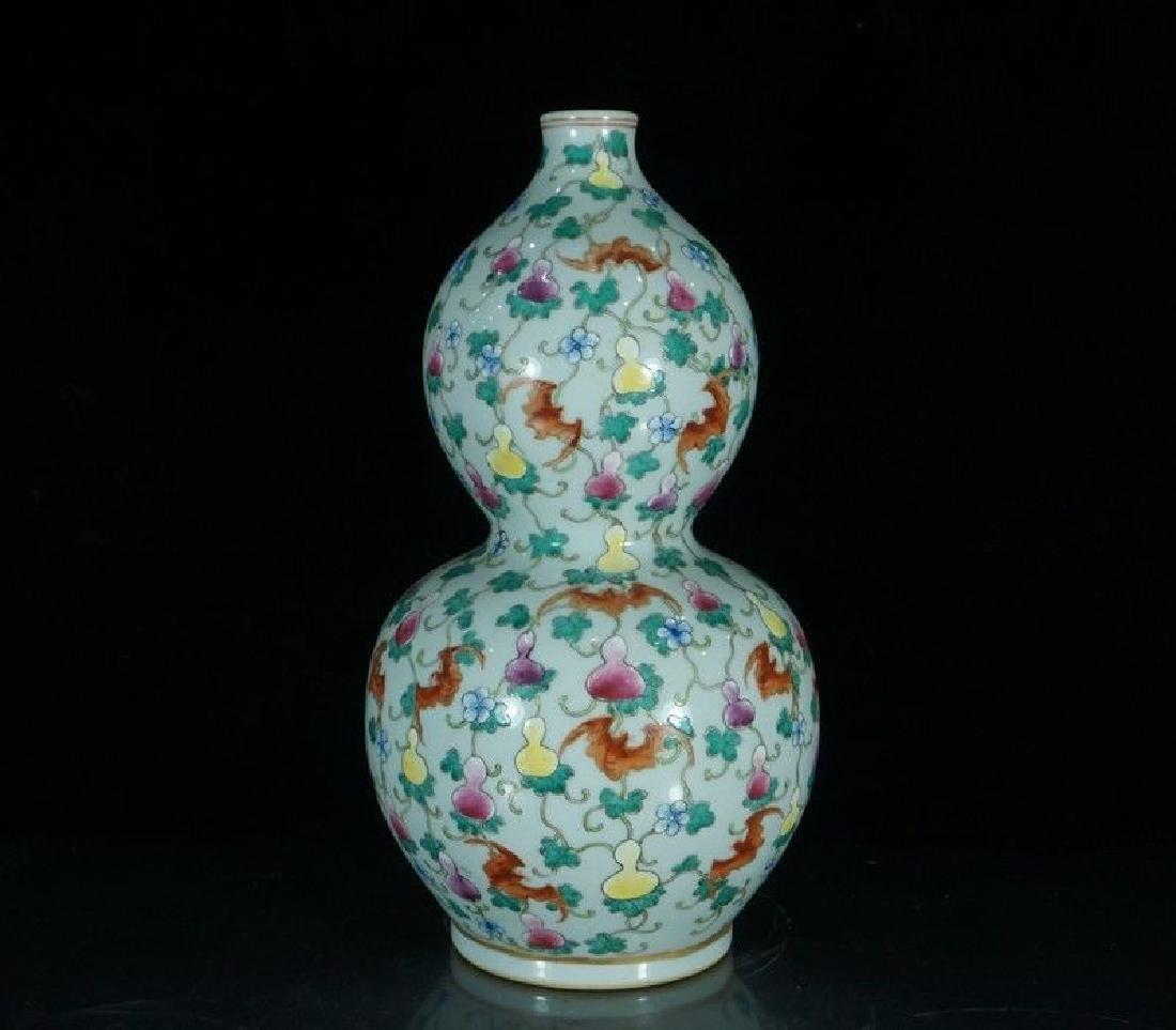 A Famille Rose Porcelain Double Gourd Vase