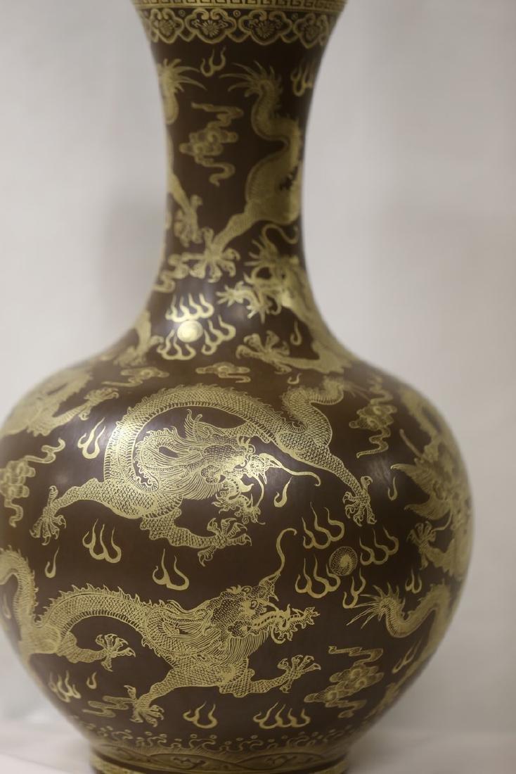 A Gilt Decorated Teadust Glazed Dragon Vase - 2