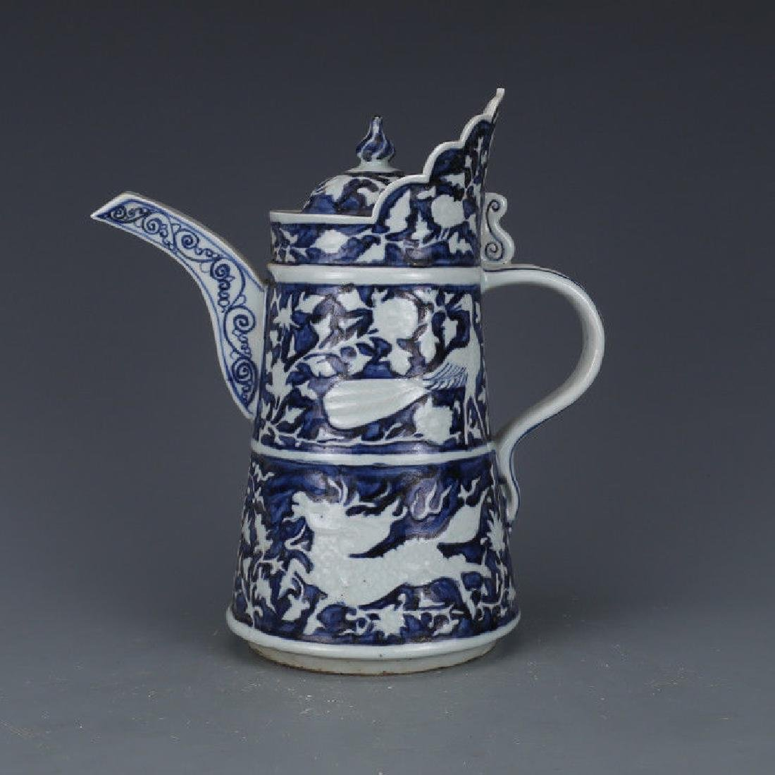 A Blue and White Porcelain Ewer - 6