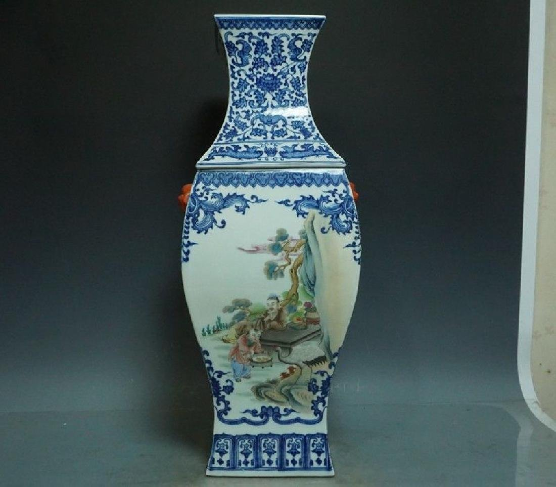 A Blue and White and Famille Rose Porcelain Vase