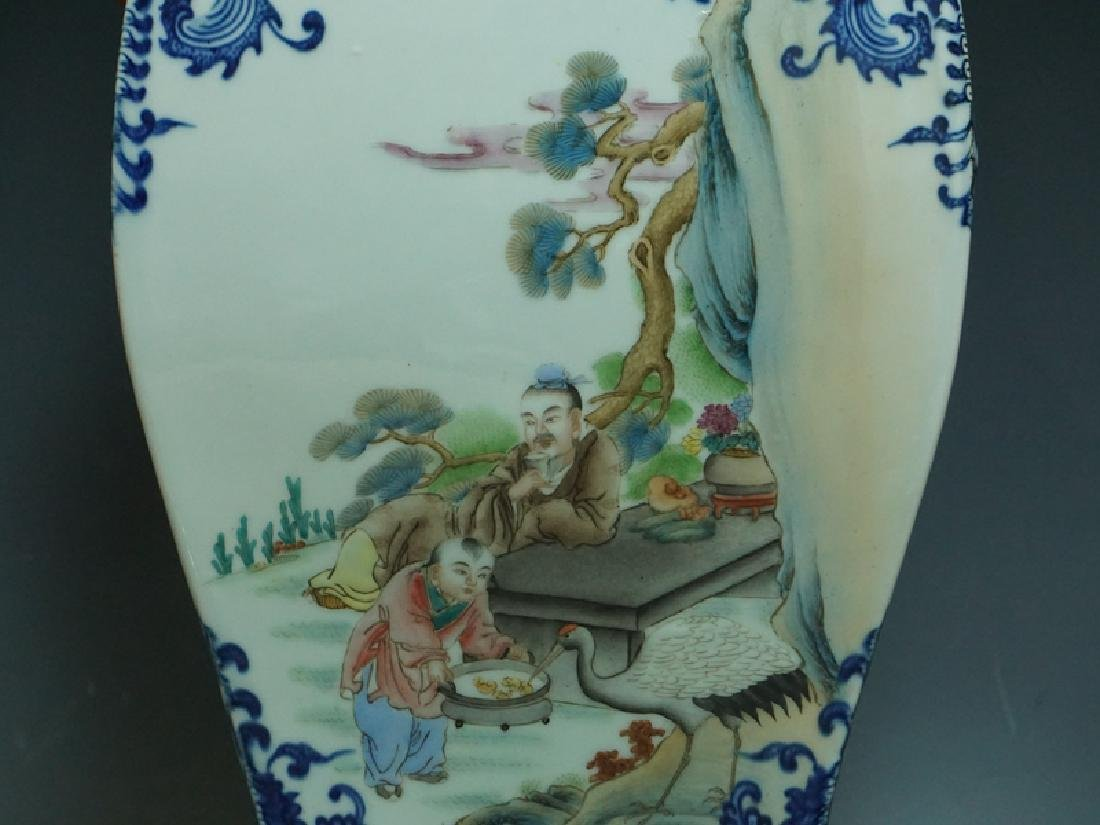 A Blue and White and Famille Rose Porcelain Vase - 6