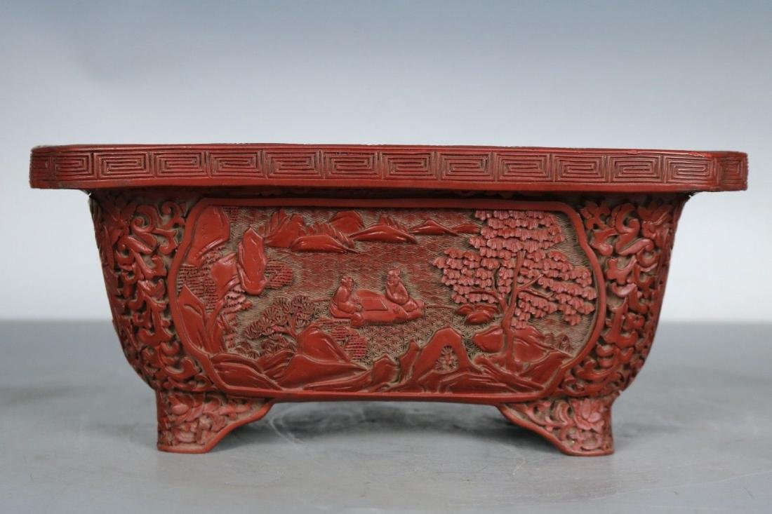 A Carved Cinnabar Lacquer Pot