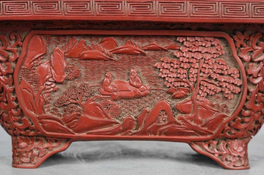 A Carved Cinnabar Lacquer Pot - 2