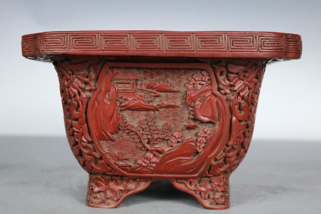 A Carved Cinnabar Lacquer Pot - 3