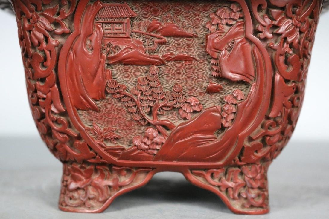A Carved Cinnabar Lacquer Pot - 4