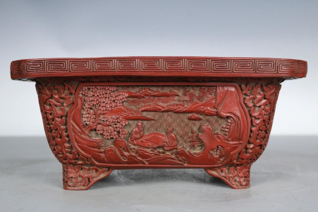 A Carved Cinnabar Lacquer Pot - 5